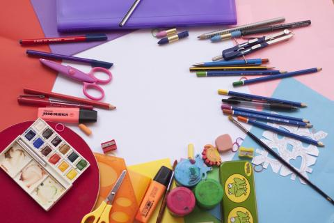 coloured pencils and other school supplies